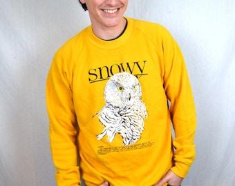 Vintage 80s Snowy Owl 1988 Yellow Sweatshirt