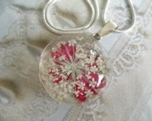 Vivid Pink Verbena & Queen Anne's Lace Pressed Flower Glass Pendant-Gifts Under 25-Nature's Art-Symbolizes Peace,Enchantment-Gifts Under 25