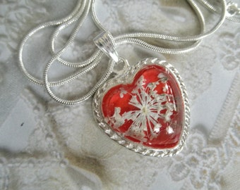 Queen Anne's Lace Glass Atop Passion Red Heart Pressed Flower Pendant-A Peaceful, Passionate Heart-Symbolizes Passion,Peace-Gifts Under 30