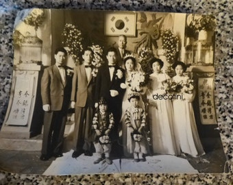 Korean Wedding 1956 Photograph.  Formal Wedding Party Photo. Beautiful.