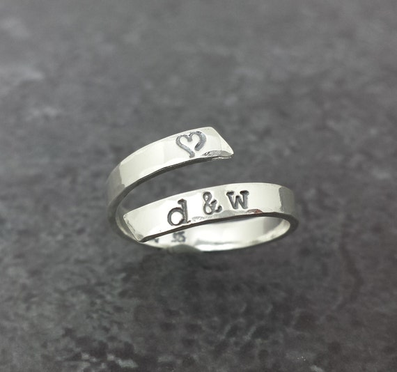 Sterling Silver Personalized Wrap Ring - Hand Stamped Ring