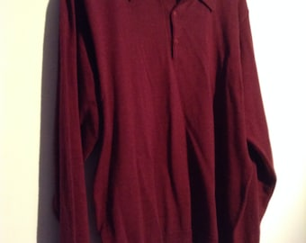 Vintage Pendleton Knit Sweater.  Merino Wool, Men's Sweater, size M.  New Old Stock.  Maroon.  Made in Italy.