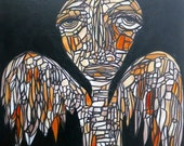 24x30 Angel Wall Art Mosaic painting Original Modern Art Wall Decor on Canvas