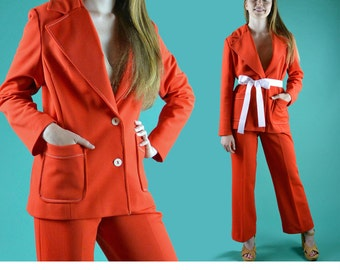 60s MOD Bell Bottoms Pant Suit High Waist Pants & Top Stitched Blazer Jacket 1960s Vintage Outfit Retro Red Orange Pantsuit S / M