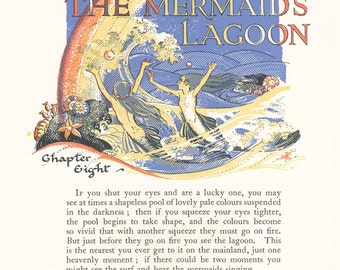 Mermaid's Lagoon, Wendy Swimming, Pool, Chapter 8, Peter Pan Vintage Print 1931, Hook, Children Carried Off, Nursery, J. M. Barrie