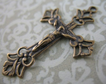 Bronze Crucifix Delicate Rosary Supplies and Parts Vintage Inspired Religious Jewelry B1062-1LS