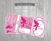 Fairy Printable Valentines Cards - Kids Classroom Valentine Card - Friend Valentine - Printable Valentines Cards - Fairy Valentine Exchange