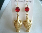 Ruby Red  Faceted Glass  Dangle Vintage Jewelry Earrings