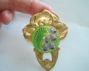 Glass Lily of Valley Flower Brooch