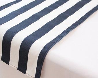 Navy and white striped table runner, Choose length, Nautical wedding runner, Nautical decor, Bridal shower, Nautical baby shower, Birthday