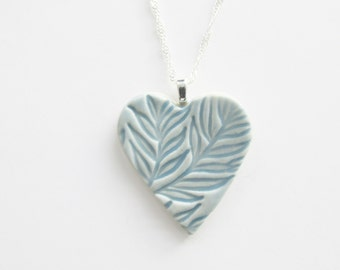 Baby Blue Heart Necklace, Ceramic Heart Pendant, Pottery Heart Pendant,