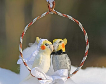 Bride and Groom Cockatiel Handmade Christmas Ornament