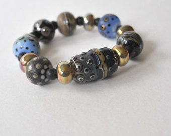 Chunky Blue Bracelet, Lampwork Bracelet, Stretch Bracelet, Glass Bead Bracelet, Shiny Metallic Bracelet