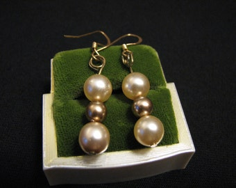 Vintage Gold and Cream Bronze Faux Glass Pearl Beaded Pierced Earrings