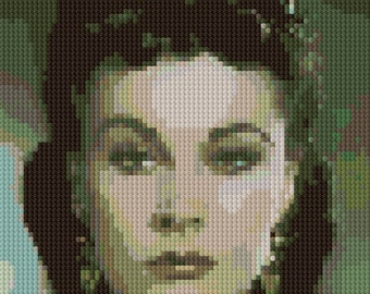 Portrait of Vivien Leigh counted Cross Stitch Pattern detailed digital download