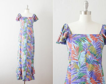 Final Sale // 1970s 1980s Christian Dior maxi dress / vintage 70s 80s botanical print dress / Under the Palms dress