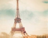 Paris Art Print / home decor / Photograph of Eiffel Tower in Paris / architecture / wall art  / teal blue, creme, green / French wall decor