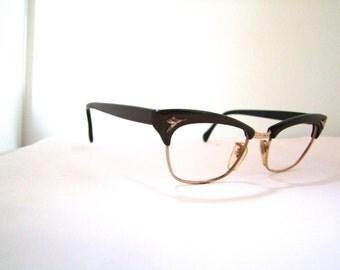 1940s Womens Eyeglasses // 40s 50s Vintage Frames //   Horn Rimmed  Brow lined //Goldfilled // Optura