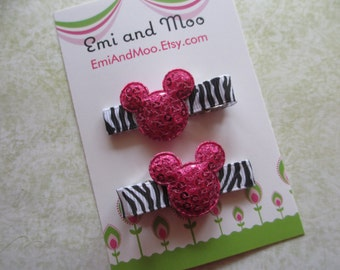 Minnie zebra HOT PINK Mouse Hair Clips