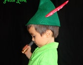 Peter Pan Hat or Zelda Elf Hat October Fest Tyrolean Alpine Hat with Feather Costume Hat Sml,Med,Lrge