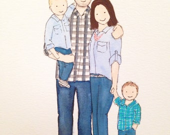 Watercolor family portrait, up to 4 subjects
