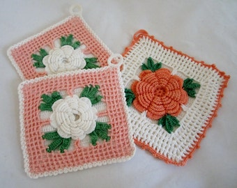 Vintage Crocheted Pot Holders - TRIO of Peach & White Roses