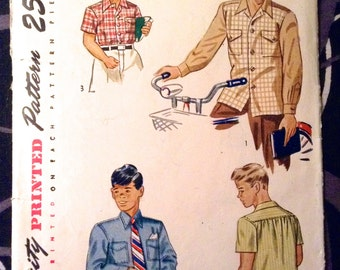 Vintage 1950, Boys Shirt sewing pattern.   Simplicity.  Size 8.   No. 2049.