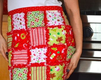 Christmas rag quilt half apron in Christmas Candy fabrics by Riley Blake