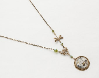 Steampunk Necklace Vintage silver watch movement with gold dragonfly pendant & peridot crystal Statement Necklace womens jewelry gift