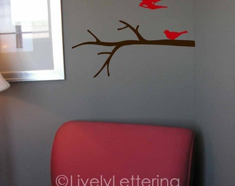 BIRDS and Tree BRANCH wall decal,  modern vinyl lettering (W04102)