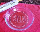 Fancy Monogrammed Pie Plate - Engraved Bakeware - Great Gift!