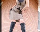 Vest - Steampunk Bohemian Corset - Boho Tweed Vest - Shabby Chic - Western Style - Burning Man - Brown Brocade - Corset - Size Medium