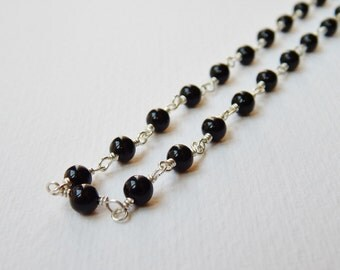 Black Onyx Necklace - Sterling silver Beadwork Necklace Beaded Necklace Rosary Chain Rosary Necklace