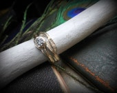 10K cast Gold Rough Diamond Engagement Ring Weeping WILLOW Raw Uncut, 10 K Wedding Band Ring Set, Rustic Tree Branch Handmade. Woodland