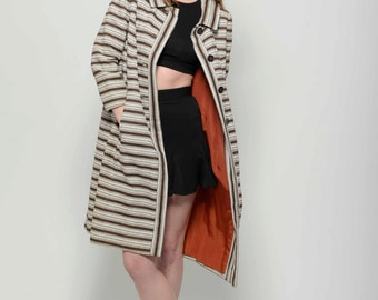 Vtg 60s Chic Posh Dainty Adorable Lilli Rubin Brown and Cream Striped Mod Peter Pan Swing Coat M