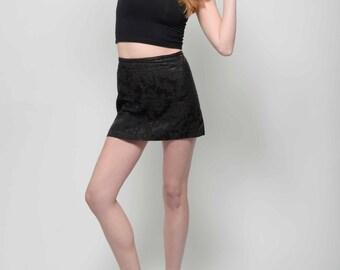 Vtg 90s Major Elegant Posh Clubkid Cyberpunk Baroque Burnout Black High Waisted Black Mini Skirt M