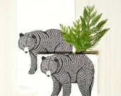 bear flour sack towel, floursack towel, animal print towel, kitchen towel, tea towels