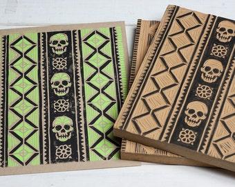 Artesanía Sugar Skull - Green Block Print