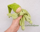waldorf doll for baby green elf striped hat - baby rattle clown, gnome ready to ship