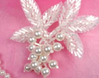 """FS03 White Satin Pearl Cluster Beaded Applique 3.5"""" (FS03-WHP)"""