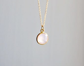 Rose quartz gemstone necklace - round pink gem - soft pastel - bezel set - gold filled or sterling silver - minimalist luxe jewelry - Pixie