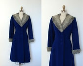 Vintage 1940s Coat / 40s Blue Wool Princess Coat / Gray Persian Lamb Trim (S M)