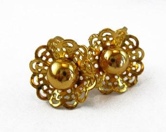 Small Gold Flower Earrings, Gold Tone Earrings, Gold Metal Small Flower Earrings Dainty Gold Earrings Gold Screw Back Earrings Gold Filigree