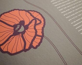 Ketubah Giclée Print by Jennifer Raichman - Poppies