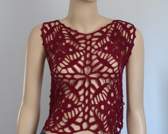 Ready to ship - Burgundy  Crochet Lace Beaded Cropped Tank ,Top  , Blouse, Mandala Pixie Vest, Summer, Beach - Boho Chic Size S M