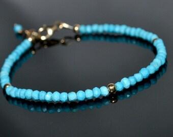 Genuine turquoise bracelet, gold filled turqoise bracelet, light blue stacking bracelet