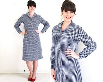 Vintage Houndstooth Plaid Dress / 60s Wool Dress