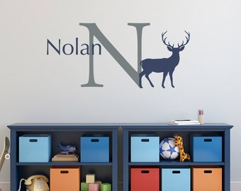 Deer Initial Name Wall Decal Set - Buck Wall Decal - Personalized Wall Art - Large