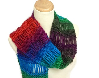 Knit Scarf,Multicolor Scarf, Hand Knit Scarf, Gift for Her, Winter Scarf, Red Blue Green Scarf,  Women Accessory, Fashion Scarf