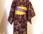 Vintage KIMONO casual wool winter KIMONO purple yellow Japanese landscape flower size M-L ready to ship